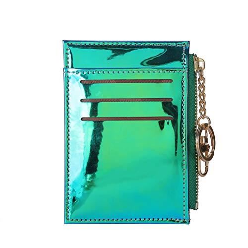 Fenical Geldbörse Holographic Mmni Wallets Kreditkarteninhaber mit Schlüsselring (Grün)