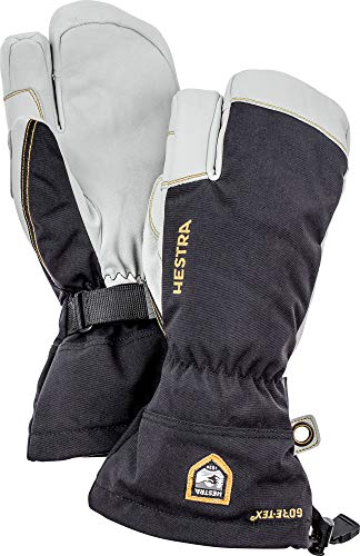 Hestra Army Leather Gore-Tex - Waterproof, Long-Cuffed 3-Finger Snow Glove for Skiing, Snowboarding and Mountaineering - Black - 10