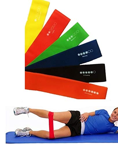 Gadgetzone® 6PC Resistance Elastic Bands Loops For Fitness Training With Different...