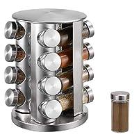 portaspezie in acciaio inox con 16 barattoli per spezie, portaspezie girevole a 360°, portaspezie con contenitore per spezie, portaspezie e portaspezie