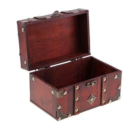 F Fityle Caja de Almacenamiento de Joyería de Madera Antigua Caja de Cofre del Tesoro Decoración de para El Hogar - a