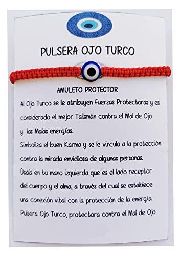 SabelAX Ojo Turco Pulsera, Hilo Rojo, Amuleto Proteccion Mal de Ojo y Buena Suerte, Unisex para Mujer y Hombre, Kabbalah, Pulsera Amistad Ajustable