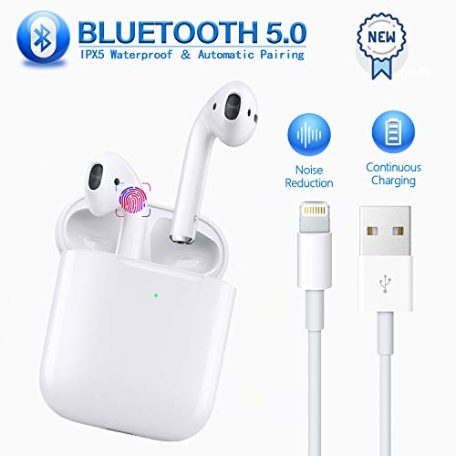 Wireless Earbuds Bluetooth 5.0 Headphones in-Ear Noise Cancelling Bluetooth Headphones 3D Stereo IPX5 Waterproof Headset 【24Hrs Charging Case】 for Apple Airpods pro iPhone Android Sport Earbuds