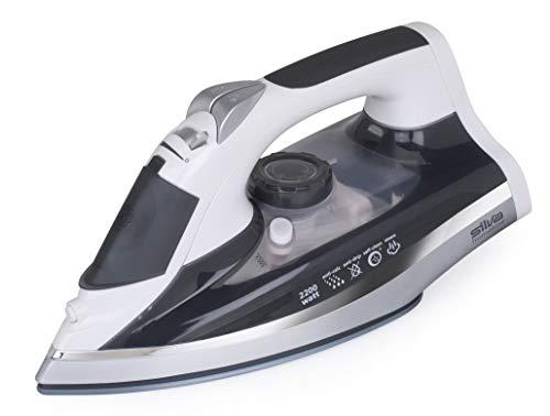 Silva-Homeline Plancha de vapor Cordless BA-CL 2100, 2200 W, inalámbrico, ajuste de temperatura, con base y suela nanocerámica, azul/blanco