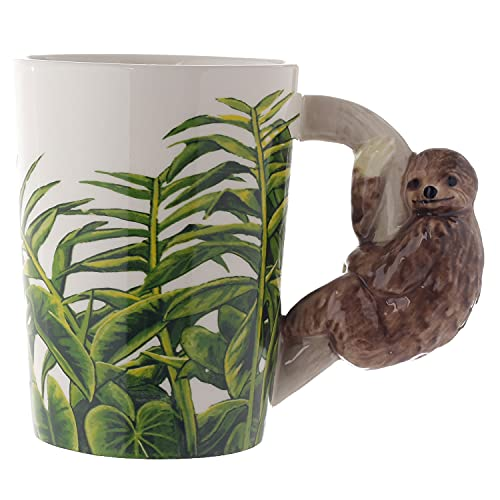 Puckator Faultier Tasse mit 3D Faultier am Henkel weiß, Bedruckt, 100% Keramik, in Geschenkverpackung.