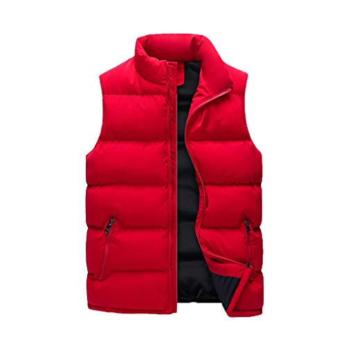 WXIANG Bodywarmer Men's Lightweight Softshell Vest Windproof Quilted Puffer Sleeveless Jacket Outdoor Stand Collar DownVest Jacket Coat (Color : Red, Size : Large)
