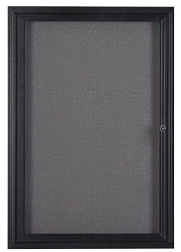 """Fabric Corkboard for Wall Mounting, 24"""" x 36"""" Enclosed Message Board with Hinged, Swing-Open Door, Gray Fabric and Black Aluminum Frame"""
