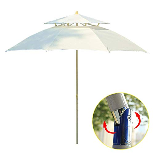 LUNAH Ombrello da Giardino inclinabile da 2,3 m con ombrellone, Doppio Tetto a baldacchino a sbalzo Banana Parasol Patio da Giardino con manovella inclinabile per Esterno/Giardini/Balcone/Om