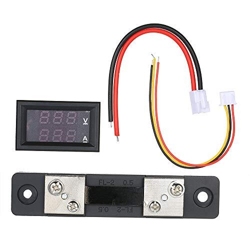 """KKmoon Voltmeter Amperemeter 0,28\""""LED 100V 50A Spannungsstrom Tester Blau Rot Dual Digital Display"""