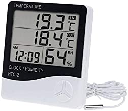 YCDC Digital LCD Temperature Humidity Hygrometer 1.5m Probe Cord, HTC-2 Big Display, More Accurate, Greenhouse Room Indoor Thermometer Monitor,Clock Beep, Fish Tank Temperature Controlling,