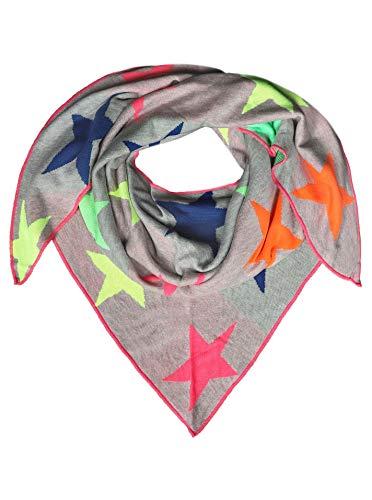 Zwillingsherz Dreieckstuch aus Baumwolle - Hochwertiger Schal mit Neon Sternen für Damen Jungen Mädchen - Uni - XXL Hals-Tuch und Damenschal - Strick-Waren - für Herbst Frühjahr Sommer hgr