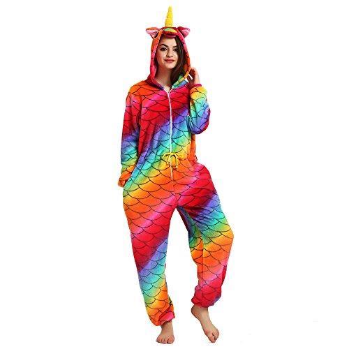 misslight Einhorn Pyjama Damen Jumpsuits Tieroutfit Tierkostüme Schlafanzug Tier Sleepsuit mit Einhorn Kostüme Festival tauglich Erwachsene (XL, Mermaid2)
