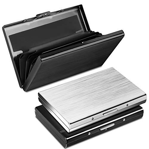 RFID Blocking Porta Carte di Credito in Alluminio, Yosemy Portafoglio Carte Credito Donna e Uomo, Business, ID, Assicurazioni, 2 Pezzi Nero + 1 Pezzi Argento