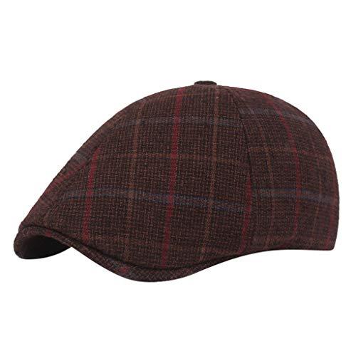Yue668 - Gorra de algodón para Hombre, Gorra Juvenil británica, Peak Blinder Hat Baker, Gorra de Peak Chevron, algodón, café, Talla única