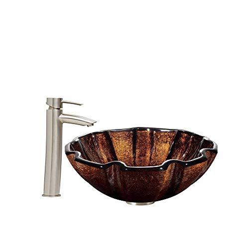 SISHUINIANHUA Muschel Glas Gefäß Waschbecken und Schatten Gefäß Wasserhahn Mit Pop-up, Gebürstetem Nickel