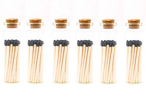 Black Decorative Matches, 120+ Small Premium Wooden Matches   Artisan Matches for Candles, Safety Matches for Lighting Candles with Match Striker On The Bottle