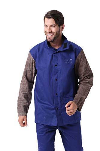 Mufly Welding Schweißer Jacke Arbeitsjacke Schweißerschutzjacke Hitze/Abriebfeste Schutzkleidung (L, Blau)
