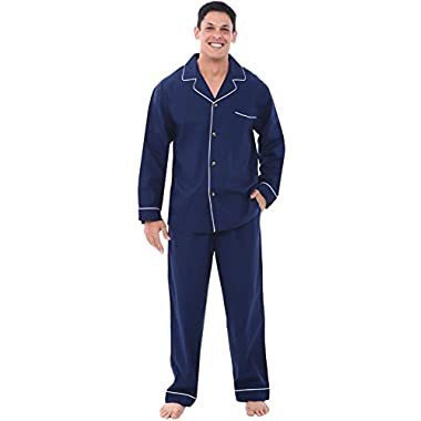 Alexander Del Rossa Mens Cotton Pajamas, Long Woven Pj Set, XL Navy Blue (A0714MBLXL)