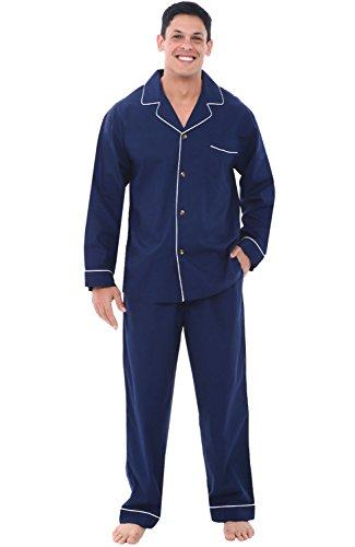 Alexander Del Rossa Men's Lightweight Button Down Pajama Set, Long Cotton Pjs, 3X Navy Blue...