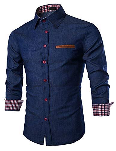JINIDU Men's Casual Button Down Denim Shirts Long Sleeve Dress Shirt, Dark Blue, S