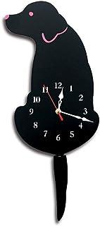 セイコー クロック 掛け時計 スイングテールアクリル腕時計漫画クリエイティブウォールクロックノルディックは彼のテール犬の壁時計を振った 電波時計 (色 : ブラック)