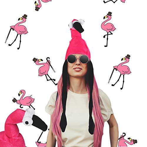 Relaxdays Gorro Flamenco, Sombrero Animal, Disfraz Carnaval Divertido, Despedidas Soltera, Poliéster, 1 Ud, Rosa