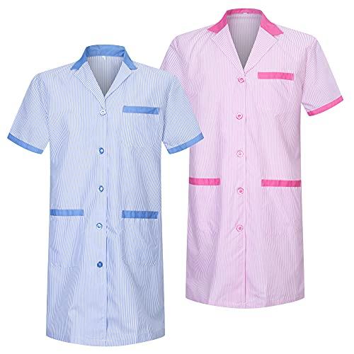 MISEMIYA - Pack*2 - Bata SEÑORA Mujer ESTÉTICA Uniforme Laboral Dentista CLINICA Doctores Limpieza Veterinaria SANIDAD HOSTELERÍA Ref.T8162 - L, Mixto