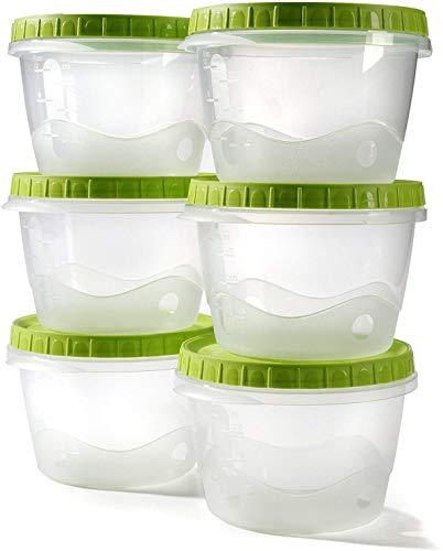 Envases comida tapers hermetico potes congelar sopa bebé recipiente para almacenar alimentos tapa conserva cajas plastico - 0,5L - Juego de 6 cuencos
