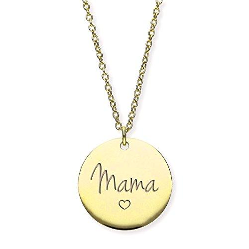 """URBANHELDEN - Damen Kette Amulett""""Mama"""" - Halskette Edelstahl Geschenkidee - Schmuck Gravur - Mama Gold"""