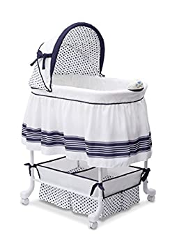 Delta Children Smooth Glide Bedside Bassinet - Portable Crib with Lights Sounds and Vibrations Marina