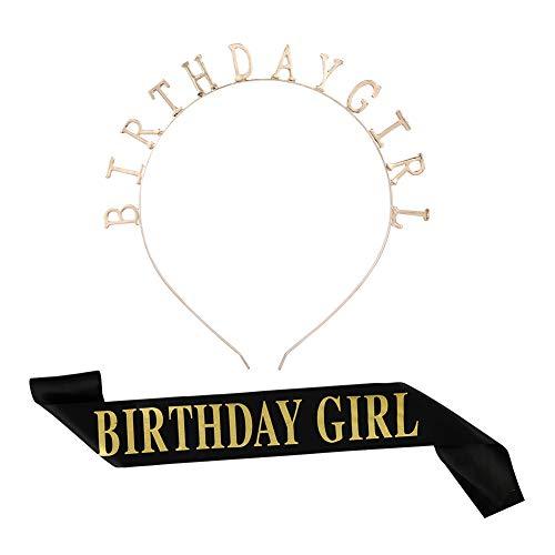 Rubywoo&chili Birthday Girl Tiara Krone Geburtstag, Mädchen Glitter Brief Geburtstag Stirnband, Mädchen Satin Schärpe für Party Dekorationen Lieferungen (Schwarz)