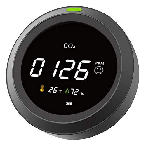 Dec-deal CO2 Messgerät Kohlendioxid Detektor mit Akku Tragbarer CO2 Meter Tester mit Temperatur-Feuchtigkeits-Anzeige
