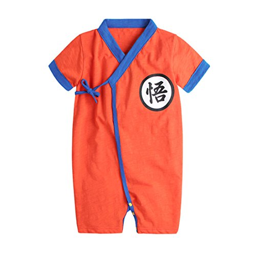 PAUBOLI Baby Kimono Bodysuit Cotton Summer Romper Outfits (3-9 Months, Orange)