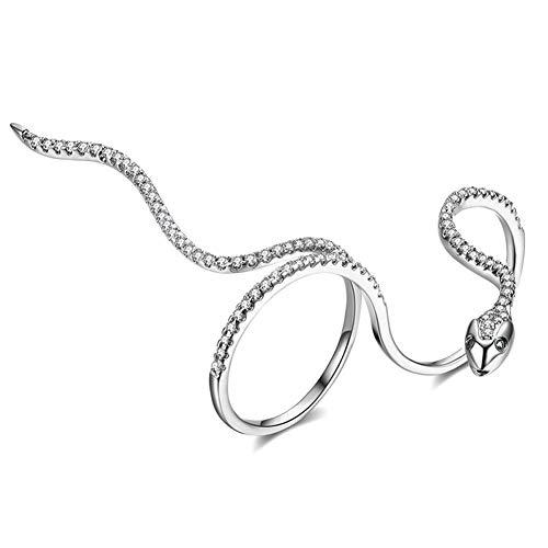 OOFAY Offener Schlangenring, unendlicher Gold-Zirkon Edelstahlring Mädchen Titanium-Stahl Nicht-allergischer Ring (Goldenes Silber),Silver