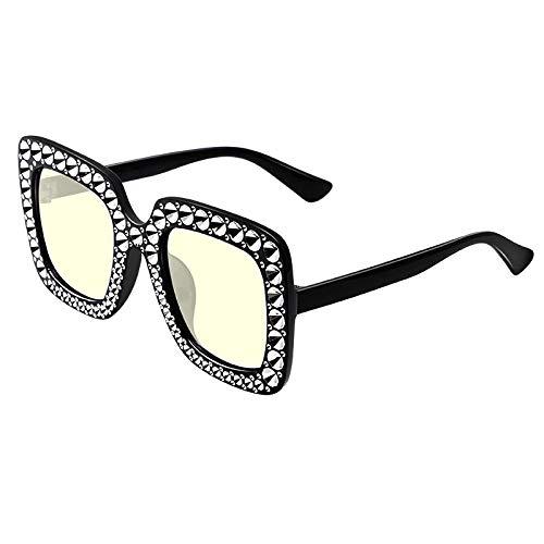 Occhiali da Sole Sunglass Occhiali da Sole Oversize Occhiali da Sole con Strass per Donna Square Shades Women Fashion C5