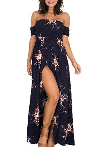 Luojida - Vestido de playa para mujer, bohemio, largo floral, estilo irregular, estilo de hombro descubierto Negro L