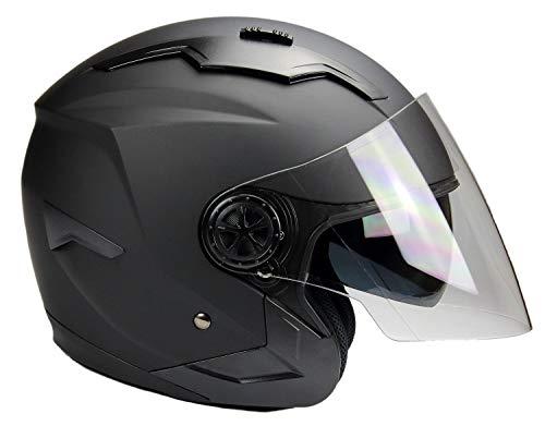 BNO Jethelm mit Langvisier Jet300 Motorradhelm Roller Helm Schutzhelm Matt Schwarz (S-XXL) (M)