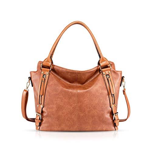 NICOLE & DORIS Damen handtaschen Stilvolle Damen Hobo Umhängetaschen mit großer Kapazität Schultertasche aus PU-Leder Braun