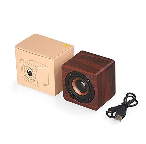 XFSE Mini-Bluetooth-Lautsprecher Aus Holz, Tragbarer Drahtloser Stereo-Bluetooth-Lautsprecher Mit 3 W Und 4,2 Lautsprechern Musik-Player Im Freien Einzelnes Horn Heim, Beige/Braun (Color : Brown)