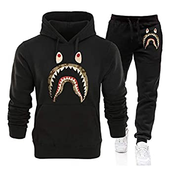 Camo Shark Hoodies Tracksuit for Mens Women Casual Full Pullover Sweatshirt Hoodie Fashion Sweatsuit Set Black1 L