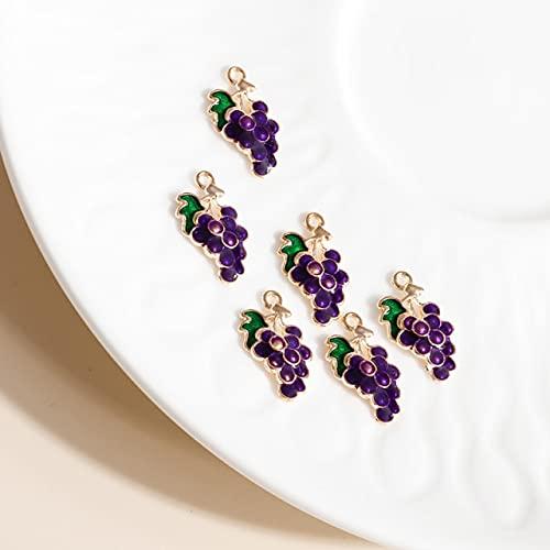 YEZINB 10 Uds 9 * 17 Abalorios de UVA púrpura esmaltados para Pendientes, Colgantes, Collares, fabricación de Bonitos Abalorios de Frutas, Accesorios de joyería Hechos a Mano DIY