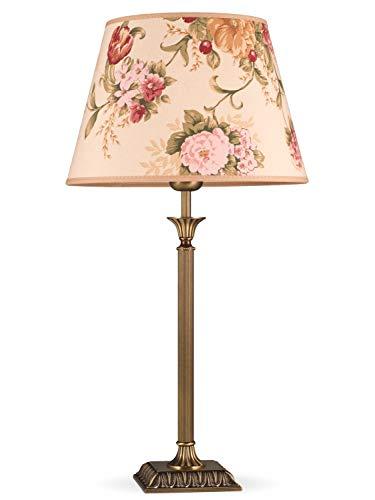 Helios Leuchten 403777/5 Vintage Lampe Leuchte | große klassische Jugendstil Tischleuchte Tischlampe | Retro Schreibtischlampe echt Messing antik | Lampenschirm geblümt | 1 x E27