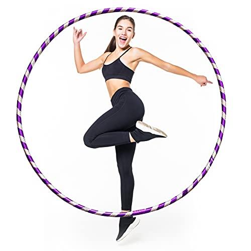 LUMOUS Hula Hoop de 50 cm para adultos y niños, juguete de fitness púrpura, desmontable y tamaño ajustable, adecuado para gimnasia, baile, ejercicio divertido, niñas, niños y entrenamiento de mascotas