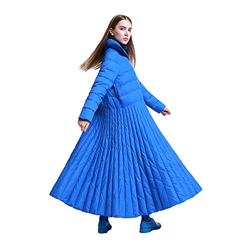 Nuevo2019otoño e Invierno Estilo de Falda Larga Chaqueta de Mujer Abrigo de diseño Especial Azul más tamaño Parkas Femenino y Casual cálido 7XL