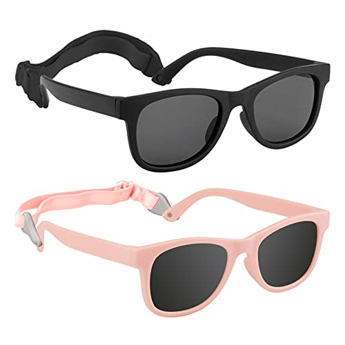 2 Pack Toddler Sunglasses for Kids Polarized, Girls Boys Baby Glasses Uv-protection,fit 2-8 Years Child Outdoor Sports Party