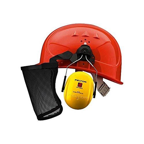 3M PELTOR Forsthelmkombination - Schutzhelm mit Gehörschutz/Gesichtsschutz/Kopfschutz - orange - Größe: universal
