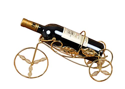 PANDA SUPERSTORE [Tricycle] Elegant Wine Rack Storage Organizer Display Holder Golden