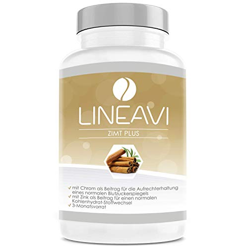 LINEAVI Cinnamon Plus, high-dose, 400 mg Cinnamon, 7 mg zinc, 100 μg Chromium per Day, Blood Sugar Level, Metabolism, Weight Loss, Skin, Hair, Made in Germany, 180 Capsules (3-Month Supply)