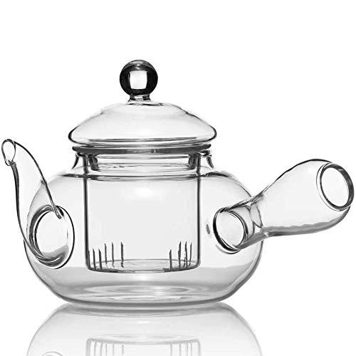 Dimono Kyusu Japanische Teekanne aus Glas im Tokoname Stil Glas-Kanne mit Filter & Tee-Sieb 600ml