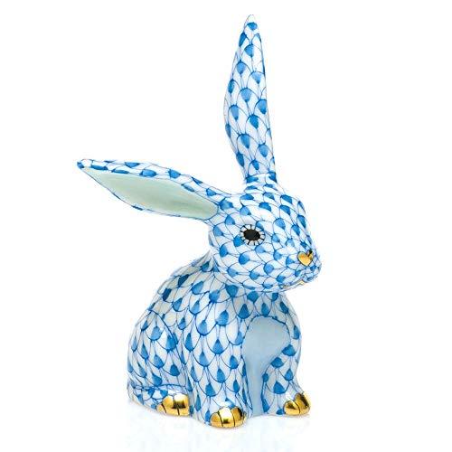 Herend Funny Bunny Rabbit Porcelain Figurine Blue Fishnet